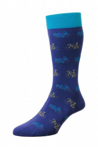 Mens Cotton Socks - Royal Blue With Beeley Bicycles